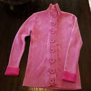 Thick weave Long Pink Cardigan Sweater